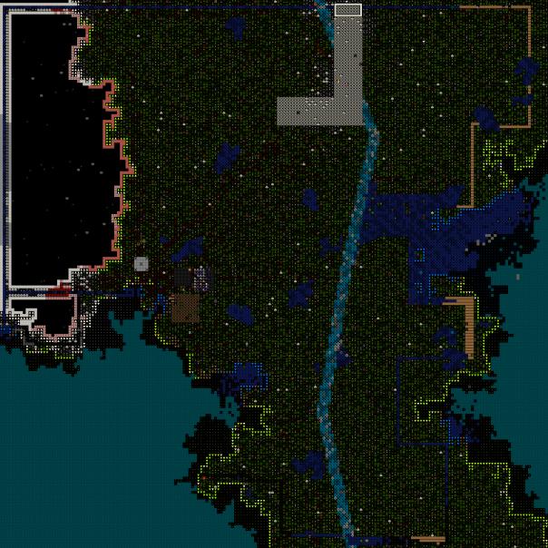 Os canais construídos ao redor foram usados para repelir invasores e criar uma cahoeira no lado leste do mapa.